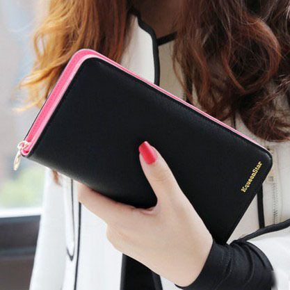 Hot sale fashion high capacity women wallets contrast color zipper clutch womens long design wallet purse freeshipping