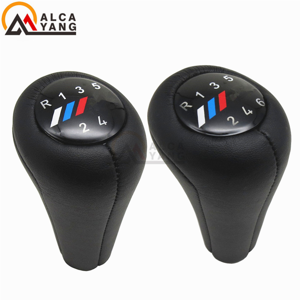 Make Your Car Elegant And Fashionable 5 6 Speed Real Leather Gear Shift Knob With M Logo For BMW 1 3 5 6 Series