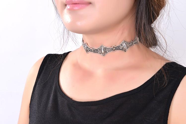 Statement Choker Necklace Turquoise Boho Choker Mesh Silver Choker Metal Choker Necklace Dainty Choker Fashion Jewelry Bohemian Choker