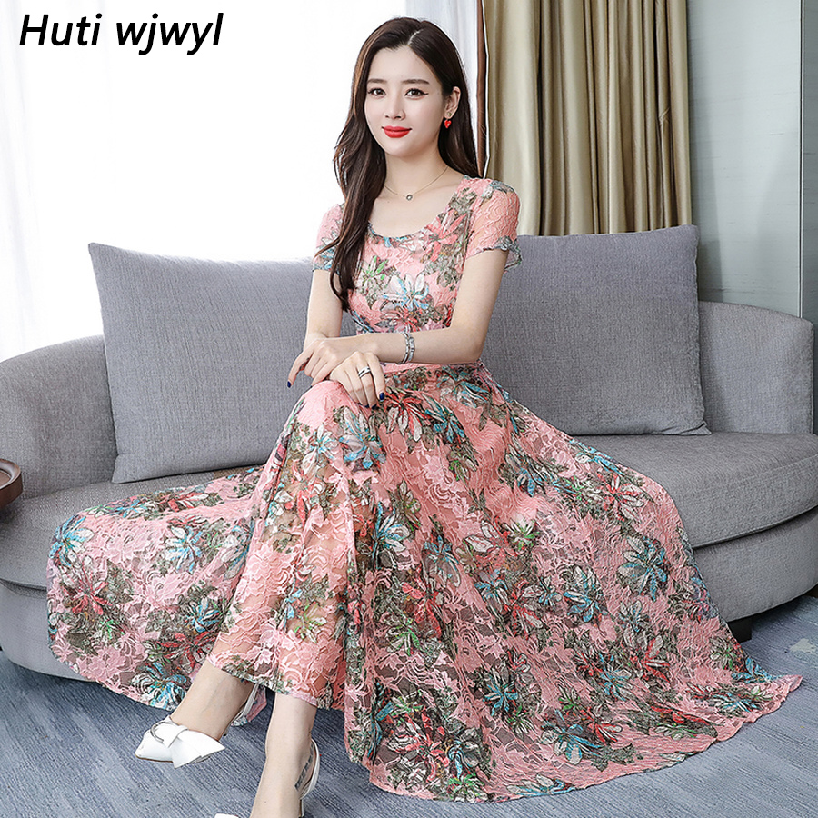 Bodycon Party Vestidos 2019 Elegant Women Floral Chiffon Boho Maxi Dress Summer Vintage 3XL Plus Size Print Beach Midi Sundress