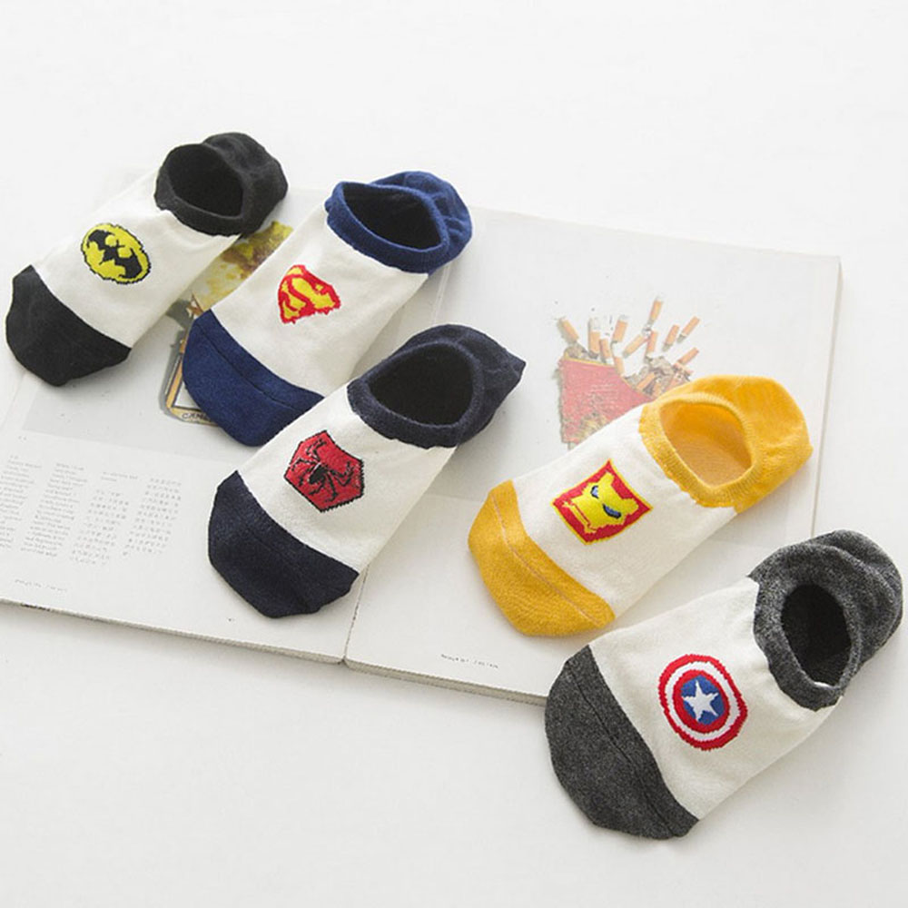 Superman Batman Captain USA classical cartoon summer style happy   socks   character pattern Superheroes   socks   for man woman