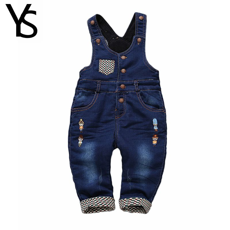 Top Quality 6m- 4Years Winter Warm Velvet Jeans Overalls  Infant Long Pants Baby Toddler Girls Boys  jumpsuit Rompers 1870