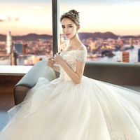 Wedding dress bride dress 2019 new tail luxury Hepburn red tremble the same small star forest