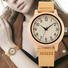Womens Wooden Watch Maple Digital Pattern Dial Wristwatch for Lady Lightweight Quartz Leather Strap