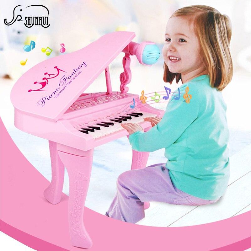 25 touches enfants clavier électronique Electone jouet électronique Piano orgue Instrument de musique Microphone jouet éducatif enfants fille - 4