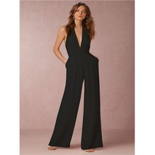 Women Jumpsuit Deep V Halter Sleeveless Elegant Sexy Jumpsuits Casual Wide Leg