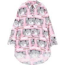 Women Blouses Plus Size Chiffon Blusas Feminino Woman Ladies Fashion Long Shirts Oversized Casual Cartoon Print Pink Summer Tops
