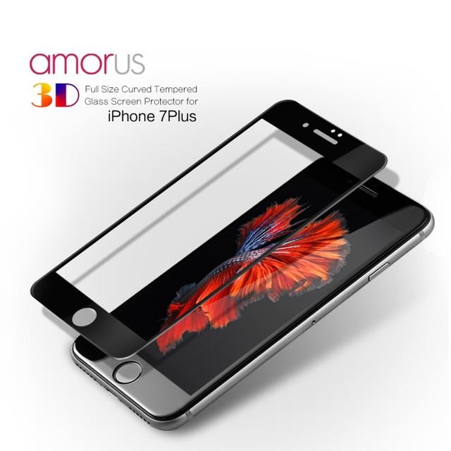 Amorus para iphone 7 plus 5.5 tamaño completo 3d templado curvado protector de pantalla de cristal 0.3mm completo que cubre para el iphone 7 plus 5.5