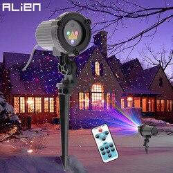 ALIEN RGB Remote Static Star Dots projektor laserowy ogród na zewnątrz wodoodporna choinka boże narodzenie oświetlenie prysznicowe w Oświetlenie sceniczne od Lampy i oświetlenie na