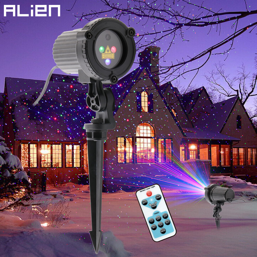 ALIEN RGB Remote Statische Stern Punkte Laser Projektor Licht Garten Im Freien Wasserdichte Weihnachten Baum Weihnachten Urlaub Dusche Beleuchtung