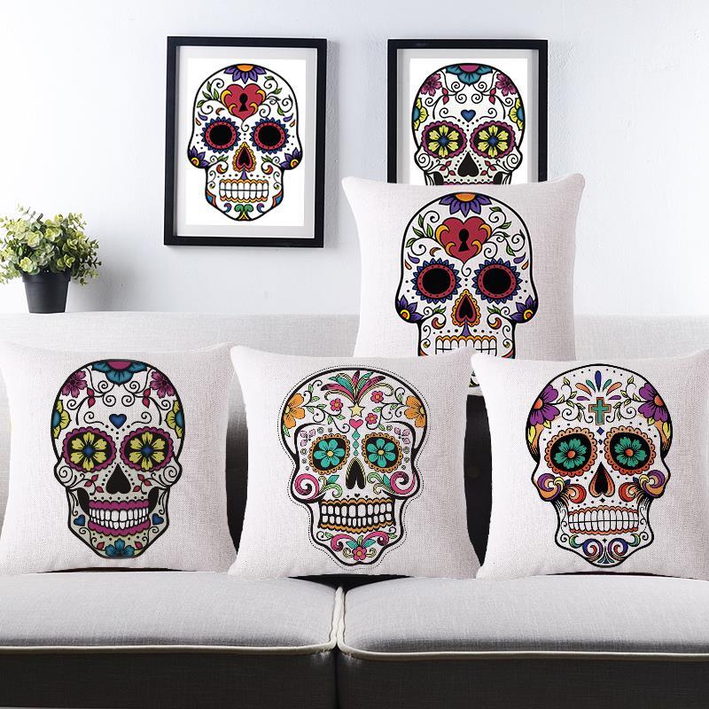 Summer style cotton linen vintage home decor mexican skull - Fundas cojines sofa ...