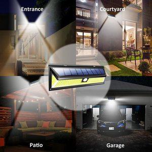 Image 5 - 2 حزمة 180 LED COB الشمسية حديقة محس حركة الجدار ضوء مصباح مقاوم للماء زاوية إضاءة واسعة في الهواء الطلق لوز الشمسية Led الفقرة الخارجية