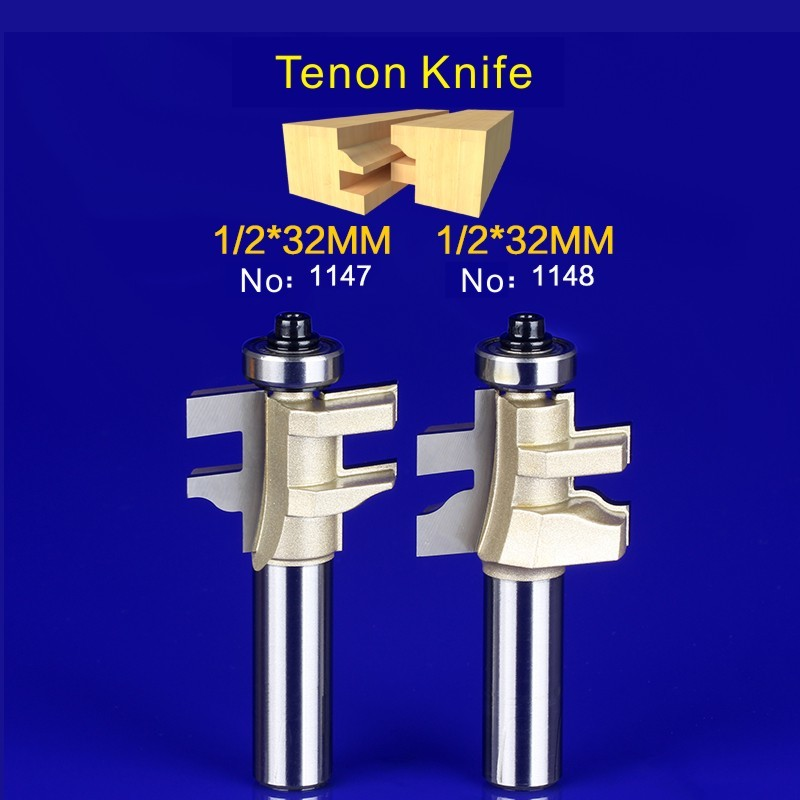 2Pcs Tongue & Groove Router Bit Set 1/2 Inch Shank Wood Milling Cutter door knife 1147-1148 2pcs tongue