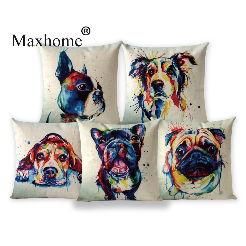 Watercolor Pillowcase Abstract Oil Painting Pet Dogs French Bulldog Sofa Throw Pillow Decorative Pillows Home Decor 18 Inches