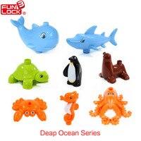 Funlock Duplo Oyuncaklar Blokları 8 adet Derin Okyanus Serisi Hayvan set Köpekbalığı Balina Yengeç Penguen Kaplumbağa Ahtapot Tuğla ile Eğlenceli Çocuklar oyuncaklar