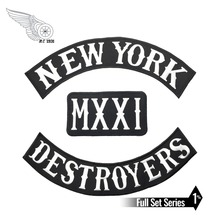 COOLEST NEW YORK MXXI DESTROYERS LARGE BACK EMBROIDERY PATCH MOTORCYCLE CLUB VEST OUTLAW BIKER MC COLORS PATCH FREE SHIPPING new arrival mc aces eights jersey embroidery patch motorcycle club vest outlaw biker jacket iron on patch free shipping
