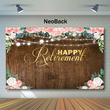 NeoBack Wood Happy Retirement Photography Backdrops Pink Watercolor Flower String Background for Photo Party Backdrop