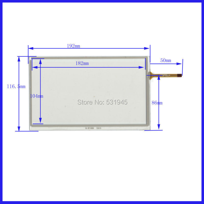 POST 8 inch 4-wire resistive Touch Panel   XWT170  192*116 compatible Navigator TOUCH SCREEN  192mm*116mm GLASS LCD  display