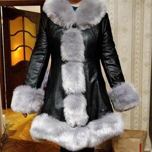 Image 2 - Hot Sale Winter Womens Faux Fur High Quality Faux Sheepskin Coats Keep Warm With Fur Fox Collars Slim Female Furs Plus Size