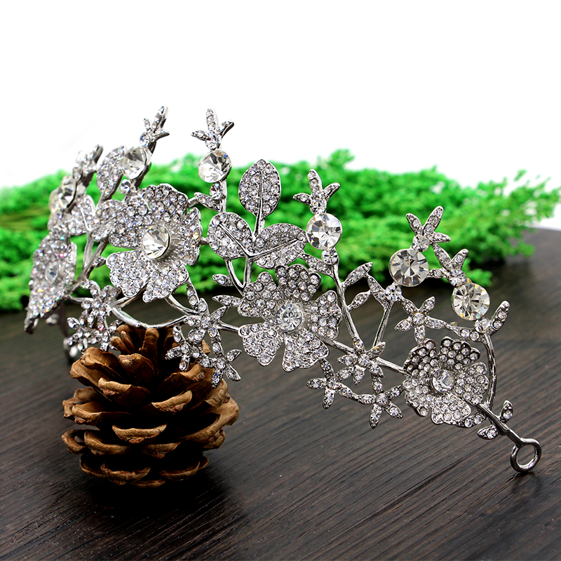 Himstory Sparkling Rhinestones Tiaras Crown Elegance Bridal Jewelry Flower Leaf Wedding Accessory Princess Hair hairwear in Hair Jewelry from Jewelry Accessories
