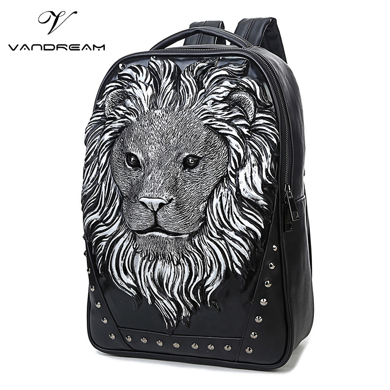 2017 Fashion Lion Black Men Bucket Backpack School Shoulder Cluch Bag Design Brand Women Ladies Laptop Schoolbag for Teenagers 2016 new sports men and women backpacks fashion men s backpack unsix men shoulder bag brand design ladies school backpack
