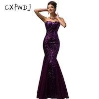 2018 Vestidos De Fiesta Rushed Lanon Cxfwdj The New Sequins Long Evening Wear Dress Shiny Elegant Fishtail Banquet Gown Dresses