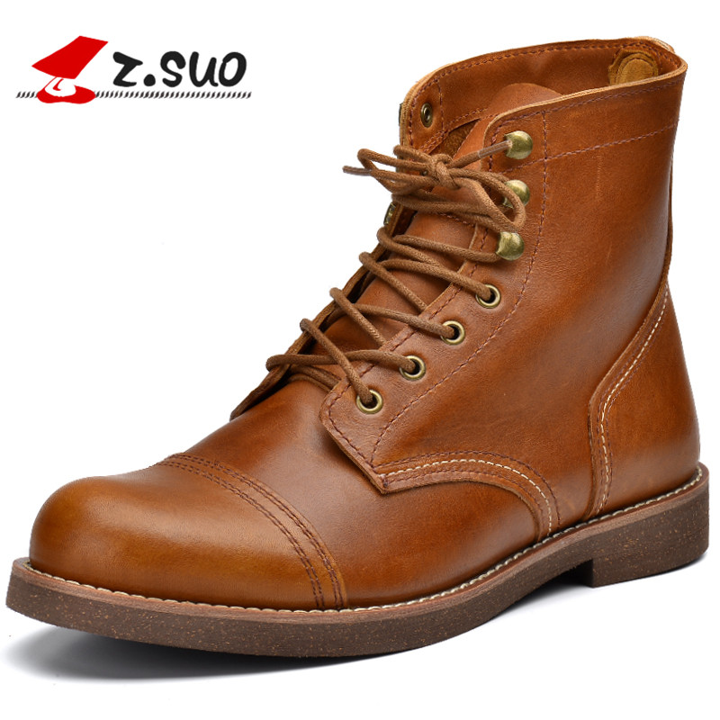 Z.SUO Fashion Retro High Top Men's Boots High Quality Full Grain Leather Upper Rubber Outsole Male Motorcycle Boots ZS16700 top high speed full teeth piston