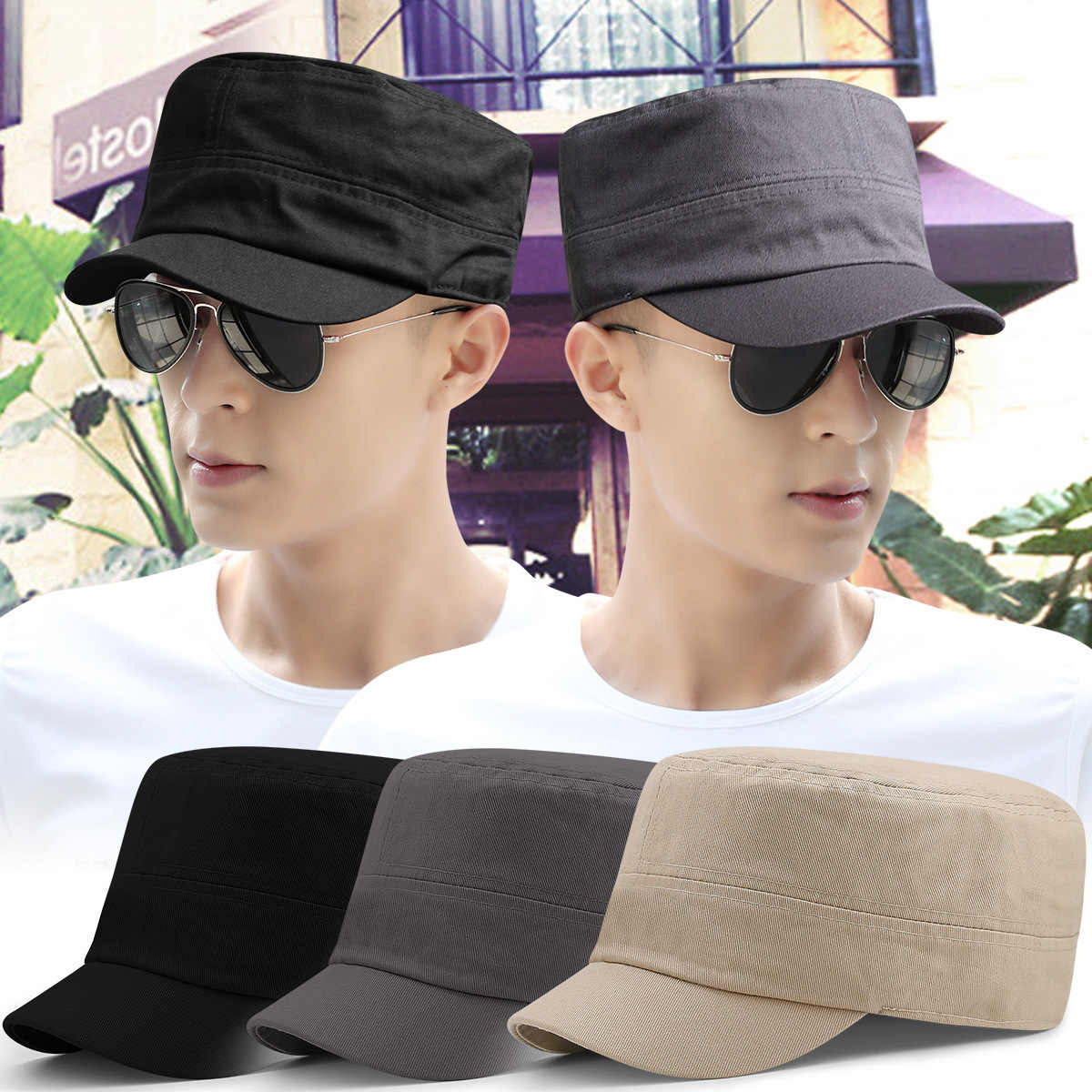 ... Men big head sun hats full close flat army cap male solid color plus  size fitted ... f447b275181