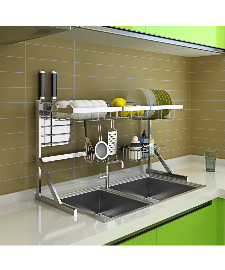 kitchen rack supplies 2 layer storage rack pool put dish rack cupboard 64 or 84cm Stainless steel drying bowl sink rack drain stainless steel sink drain rack