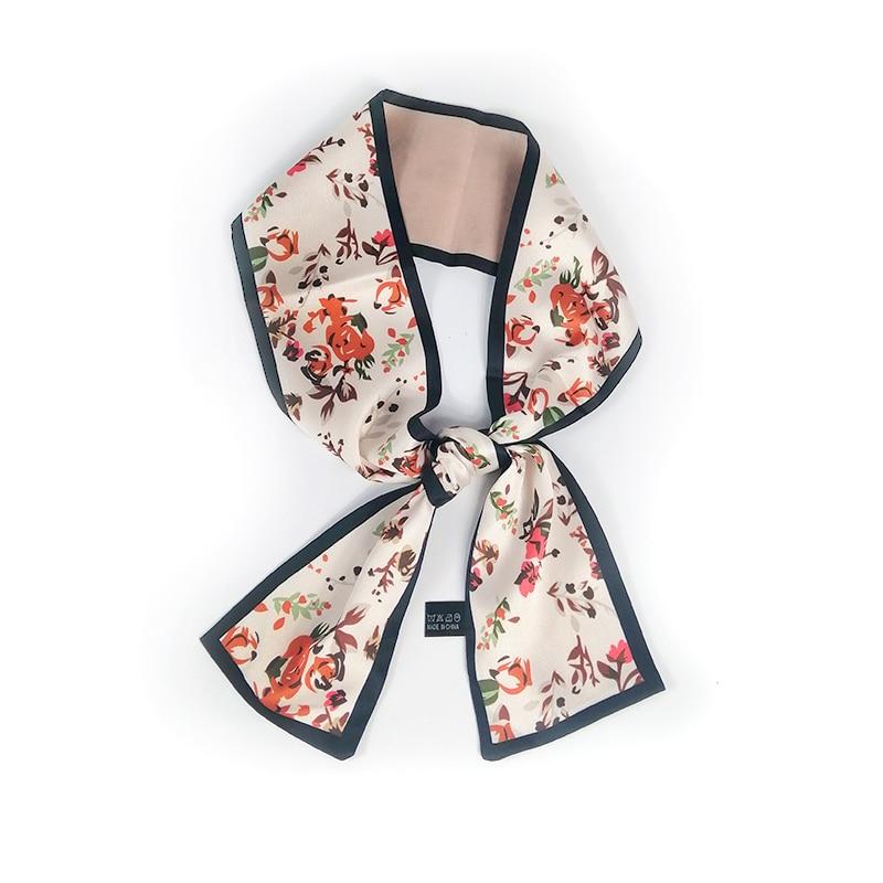 100*9cm Flower Printed Design Silk Scarf Small Handle Bag Ribbon Women Bufanda Headwear Long Skinny Foulard Femme Scarves