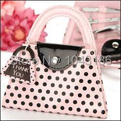 wedding bridal shower favors gift for guest -- Pink Polka Dot Purse Manicure Set party favor giveaways 20sets/lot