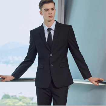 Black Business Men Suits Slim Fit  Wedding Groom Wear Tuxedos Prom Groomsman Suit 2 Pieces (Jacket+Pants) Costume Homme Blazer