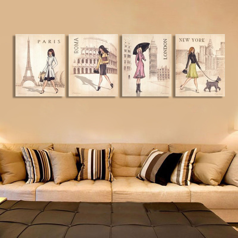 Triptych Canvas Art Print Painting ROMA London Travel Girl For Girls ...