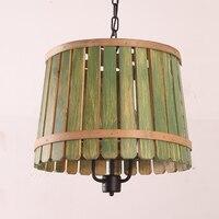 Solide En Bois baril Pendentif Lumières en bois chambre Jardin Méditerranéen Restaurant balcon rétro lampes ZA MZ47