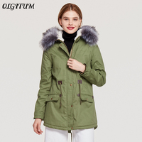 Winter Coat Women Large Fur Collar Hooded Army Green Cotton Jacket Luxury Brand Thicken Warm Lambswool Long Loose Winter Parka
