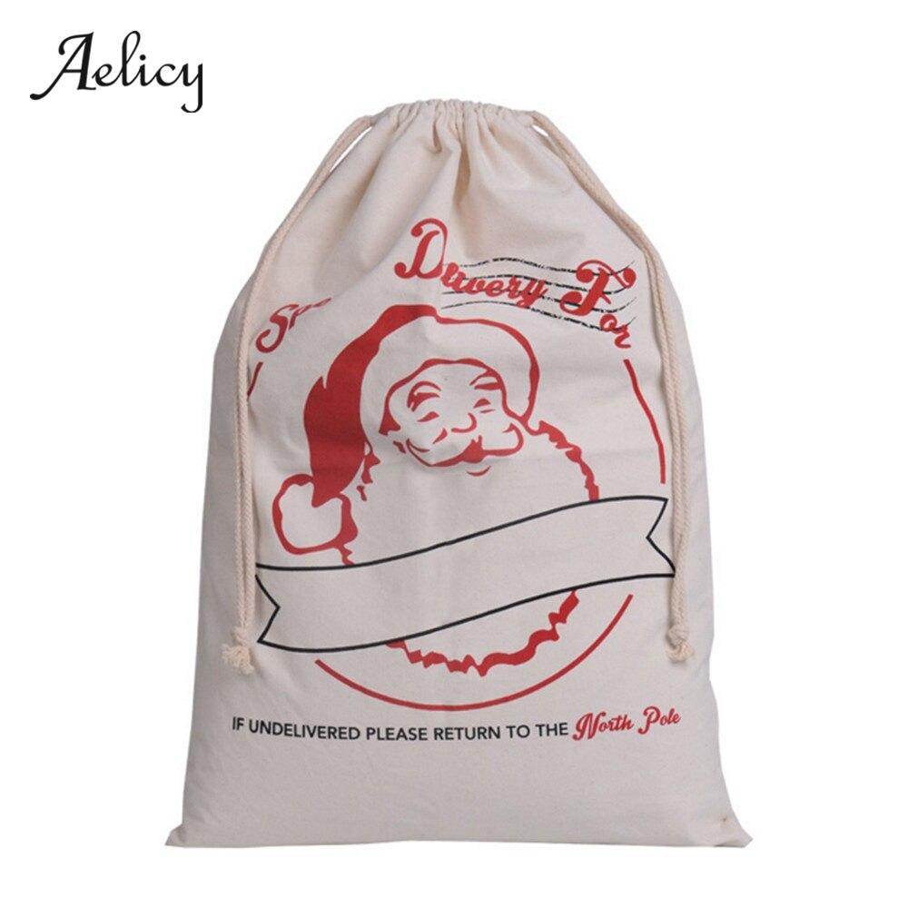 Canvas Santa Sacks Xmas Gift Bag Decoration Santa Claus Deer Festive Supplie 2018 Shoulder Bag Female Women Messenger Bag