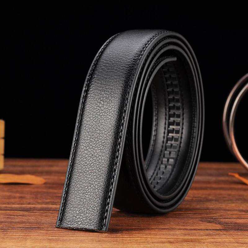 Luxury Men/'s Leather Automatic Ribbon Waist Strap Belt Without Buckle Black New