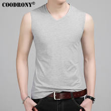 COODRONY Slim Fit Tank Top Mannen Mouwloze V-hals T-shirt Mannen 2017 Lente Zomer Nieuwe Collectie Katoenen T-Shirts All-Match Tees s7651(China)