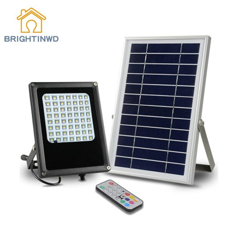 Multifonctionnel Solaire D'éclairage Extérieur De Projecteur 56LED Télécommande RGB Imperméable À L'eau Lumière Calendrier Décoloration Projecteurs IP6