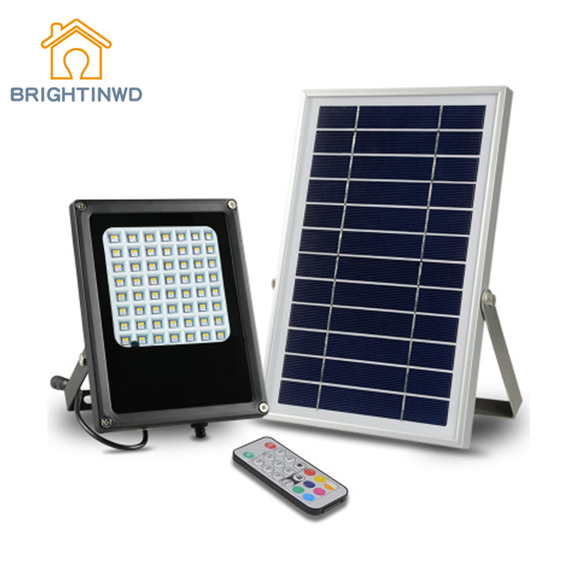 Multifunctional Solar Floodlight Outdoor Lighting 56LED Remote Control RBG Waterproof Light Timing Discoloration Spotlights IP6 chunghop rm l7 multifunctional learning remote control silver