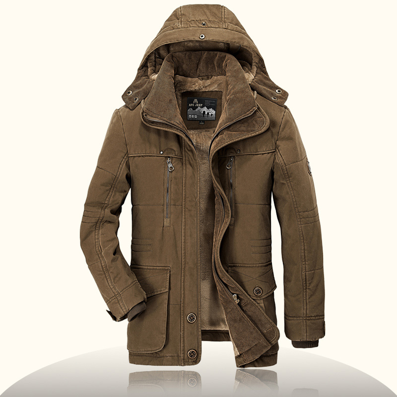 AFS JEEP Brand Mens Winter Parkas Military Hooded Collar Hat Detachable Wool Fleece Liner veste homme Winter Jacket Men велосипед bulls sharptail 24 street outer 21 spd 2017