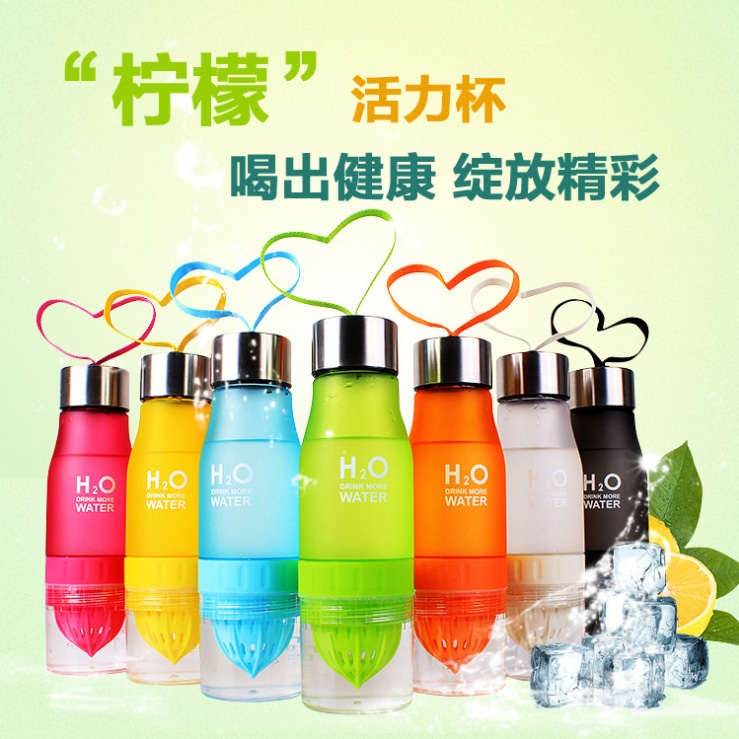 2017 Fashion H2O 650ml Fruit Juice Infuser Water Bottle Plastic Portable Bottle for Outdoor Sports Shaker