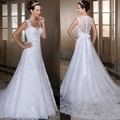 vestido de noiva A-Line See Through Lace Back vestidos de novia detachable train wedding dresses Fashion vestido de casamento