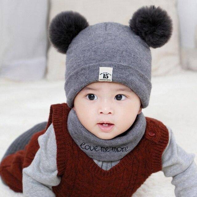 4c36ec77a4e 2Pcs Set Kids Winter Hat Scarf Cute Pompom Ball Boys Girls Beanie Children Solid  Color