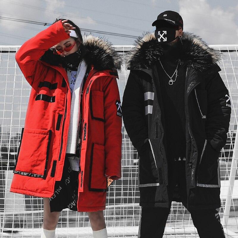 Couple Hiver Col De Fourrure Parkas Longues Veste Hommes Mode Streetwear Décontracté Hip Hop Épais Veste Homme Coton Rembourré Manteau