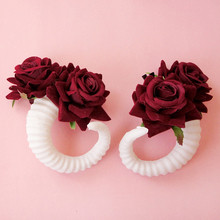 Beauty Sheep Horn Headdress Demon Women Cosplay Headband Girl Party Lovely Flower Barrettes Vintage Female Rose Hair Accessories