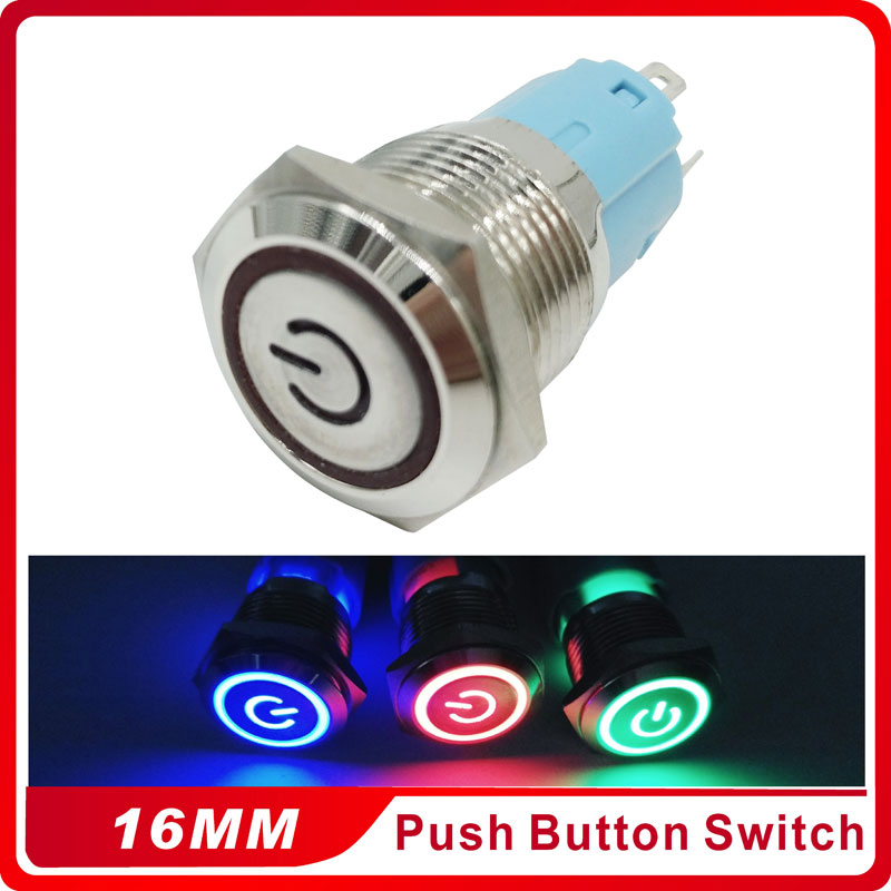 16mm Metal Momentary Push Button Switch LED 3V5V 12V 24V  220V StainlessLess Steel Waterproof Car Auto Engine PC Power Start