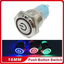 16mm Metal Momentary Push Button Switch LED 3V5V 12V 24V  220V StainlessLess Steel Waterproof Car Auto Engine PC Power Start цена 2017