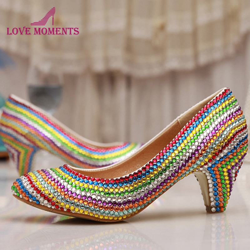 Women Wedding Shoes Platform Pump Sexy Thin Handmade Heels Rainbow Crystal Bridal High Heel Shoes Graduation Party Prom Shoes cinderella high heels crystal wedding shoes 14cm thin heel rhinestone bridal shoes round toe formal occasion prom shoes