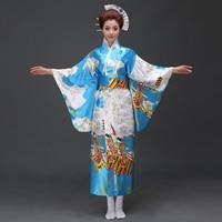 Blue Traditional Japanese Women Kimono Yukata With Obi Sexy Party Dress Vintage Halloween Costume Dance Dress One Size B 026